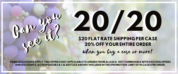 Save 20% and $20 Flat Rate Shipping per case!