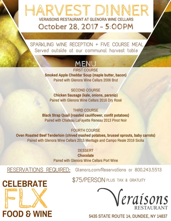 Harvest Dinner Menu at Veraisons Restaurant at Glenora Wine Cellars