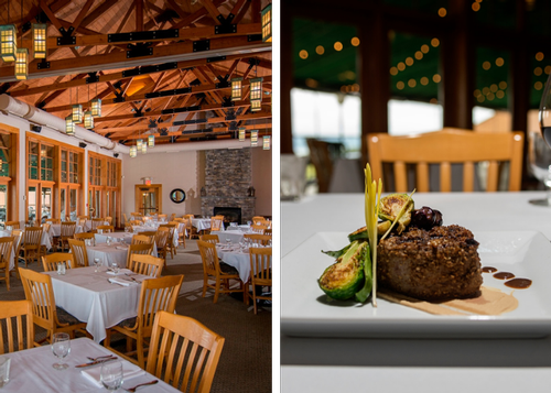 On left, the veraisons dining room, with exposed wood and stone fireplace. On right, an artfully plated cut of meat.
