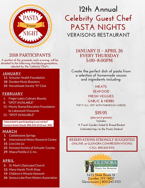Pasta Night at Veraisons Restaurant at Glenora Wine Cellars