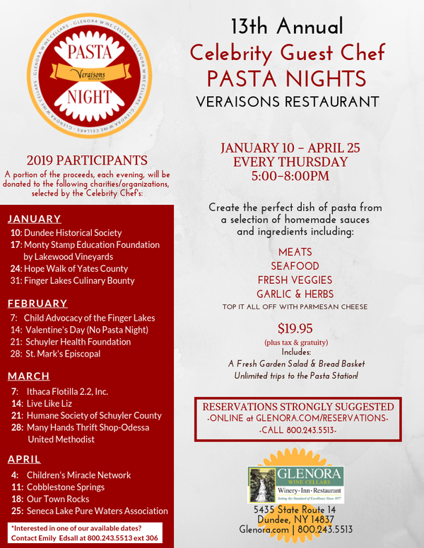 13th Annual Pasta Night Series at Veraisons Restaurant at Glenora WIne Cellars