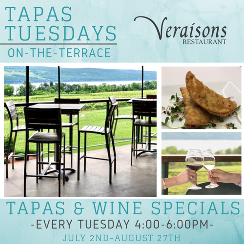 Tapas Tuesdays on the Terrace at Veraisons Restaurant. Enjoy specials on wine and small plates each week!