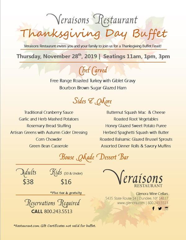 Veraisons Restaurant at Glenora Wine Cellars Thanksgiving Buffet Menu