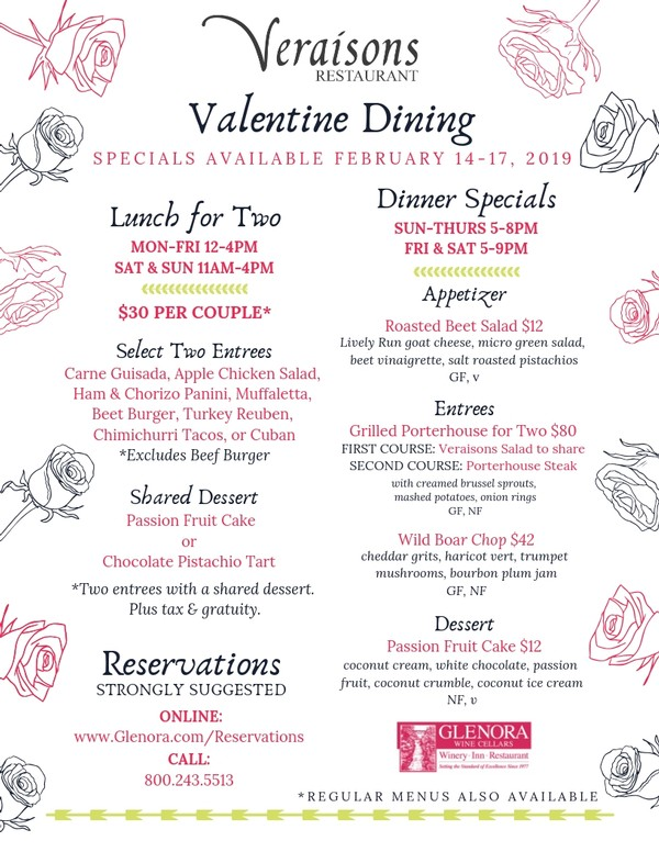 Valentine Weekend Dining at Veraisons Restaurant