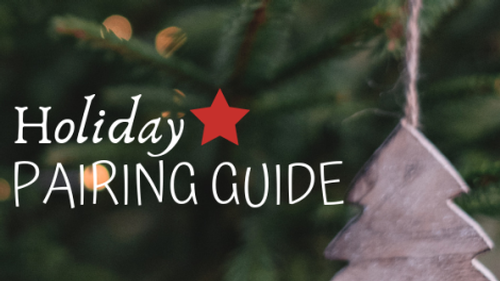 Christmas tree & ornament graphic with overlaid text: Holiday Pairing Guide