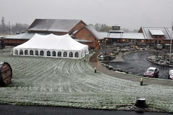 Our event tent, set up for our Nouveau celebration, with a light snow covering the grounds.