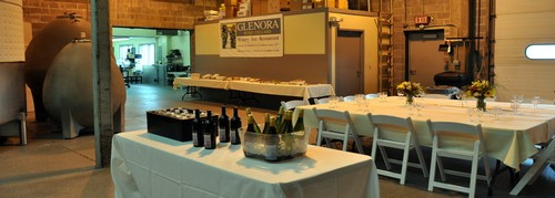 A wine cellar lunch set up in our production facility