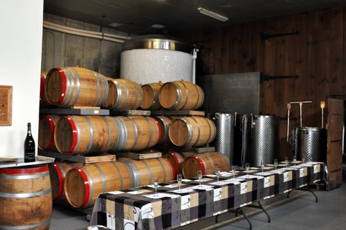 An industry tasting set up in our barrel room for our international guests