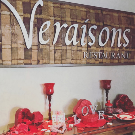 The lobby of the Inn and Veraisons Restaurant, decorated with hearts and red accents for Valentines Day